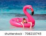 adorable little girl at beach... | Shutterstock . vector #708210745