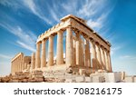 parthenon temple on a bright... | Shutterstock . vector #708216175