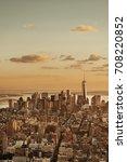 new york city downtown sunset... | Shutterstock . vector #708220852