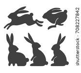 rabbit set. stylized... | Shutterstock .eps vector #708227842