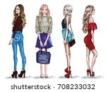 hand drawn set with beautiful... | Shutterstock .eps vector #708233032
