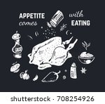 hand drawn food   chalk on a... | Shutterstock .eps vector #708254926