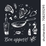 hand drawn food   chalk on a... | Shutterstock .eps vector #708255295