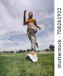 woman runing outdoor and sport... | Shutterstock . vector #708261922