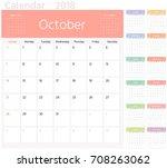 color calendar planner for 2018 ... | Shutterstock .eps vector #708263062