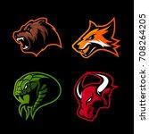 furious fox  snake  bull and... | Shutterstock .eps vector #708264205