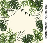 tropical frame. background.... | Shutterstock .eps vector #708280102