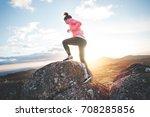 sports girl running in the... | Shutterstock . vector #708285856