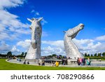 Small photo of AUGUST 26, 2017: The Kelpies statue by Andy Scot, Helix park, Falkirk, Scotland.