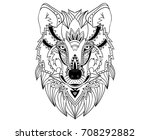 ethnic hand drawn wolf face....   Shutterstock .eps vector #708292882
