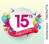 15th anniversary logo with... | Shutterstock .eps vector #708296776