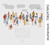 crowd of people on white... | Shutterstock .eps vector #708297892
