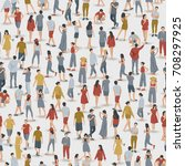 crowd of people in seamless... | Shutterstock .eps vector #708297925