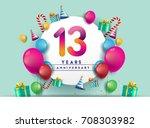 13th years anniversary...   Shutterstock .eps vector #708303982