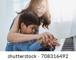 happy family playing at home... | Shutterstock . vector #708316492