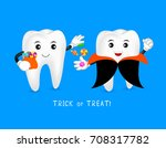 funny cute cartoon tooth... | Shutterstock .eps vector #708317782