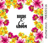 invitation with floral... | Shutterstock . vector #708320116