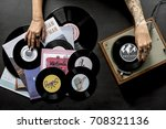 tattoo woman with music vinyl... | Shutterstock . vector #708321136