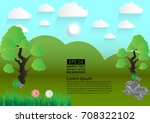 green landscape meadow with... | Shutterstock .eps vector #708322102