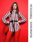 fashion portrait of beautiful... | Shutterstock . vector #708323116