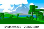 cartoon landscape. rural area.... | Shutterstock . vector #708328885