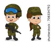 set of soldiers. cartoon... | Shutterstock .eps vector #708334792