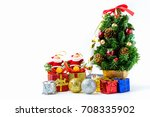 christmas tree with gift boxes... | Shutterstock . vector #708335902
