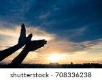 silhouette human hands shape...   Shutterstock . vector #708336238