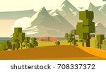 cartoon landscape. rural area.... | Shutterstock . vector #708337372