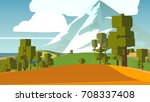 cartoon landscape. rural area.... | Shutterstock . vector #708337408
