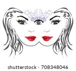 woman with third eye  psychic... | Shutterstock . vector #708348046