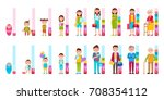 humans cycle of life from baby... | Shutterstock .eps vector #708354112