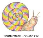 Colorful Cartoon Snail. Hand...