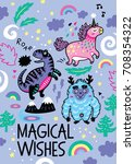 magical wishes card with... | Shutterstock .eps vector #708354322