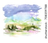 watercolor picture of mountains ... | Shutterstock . vector #708359788