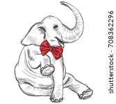 sitting smiling elephant in a... | Shutterstock .eps vector #708362296