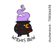 witch brew. witch's cauldron.... | Shutterstock .eps vector #708366658