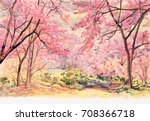 painting watercolor landscape... | Shutterstock . vector #708366718