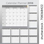 2018 desk calendar planner.... | Shutterstock .eps vector #708368422