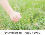 kid hand keeping the flower | Shutterstock . vector #708371992