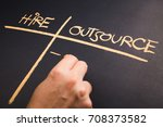 Small photo of Hand write a chart of Hire and Outsource on chalkboard
