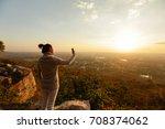 women selfie landscape sunset.   Shutterstock . vector #708374062