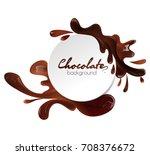 round banner with liquid milk... | Shutterstock .eps vector #708376672
