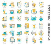 web icons collection flat line... | Shutterstock .eps vector #708381328
