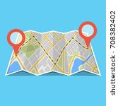 map with gps navigation and... | Shutterstock .eps vector #708382402