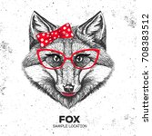 retro hipster animal fox. hand...   Shutterstock .eps vector #708383512