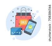online shopping  mobile... | Shutterstock .eps vector #708386566