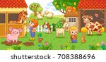 the girl and mother on the farm ... | Shutterstock .eps vector #708388696