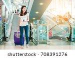 asian women were carrying... | Shutterstock . vector #708391276