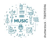 lettering of music concept with ... | Shutterstock .eps vector #708393346